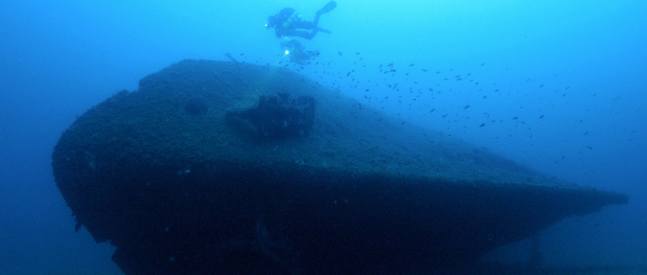Technical divers exploring the wreck of the SS Isonzo
